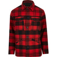 Only And Sons River Island Mens Red Check Jacket