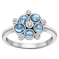 London Road 9Ct Gold Diamond Bubble Cluster Ring White Gold Blue Topaz