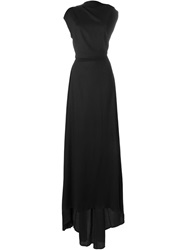 Ann Demeulemeester Draped Top Flared Gown Black