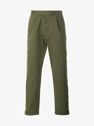 Palm Angels Washed Cotton Trousers Army Green White