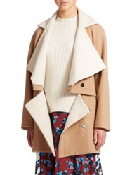 Tanya Taylor Bernadette Convertible Stretch Wool Coat Camel White Wook