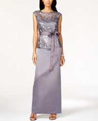 Patra Illusion Lace Belted Gown