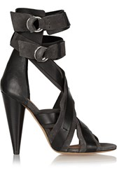 Isabel Marant Rosy Glossed Leather And Suede Sandals Gray