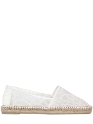 Sarah Summer Mesh Lace Espadrille Flats White