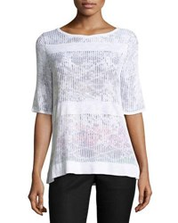 Ming Wang Knit Overlay Top Mul