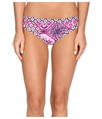 Tommy Bahama Tiles Of Tropics Banded Hipster Bottom Wild Orchid Pink Women's Swimwear