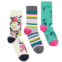 Joules Brill Bamboo Floral Print Ankle Socks Pack Of 3 Multi