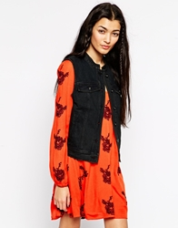 Free People Denim Waistcoat With Lace Up Detail Black