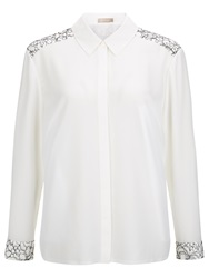 Planet Lace Insert Blouse Light Neutral