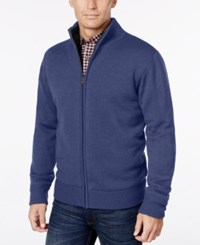 Weatherproof Vintage Men's Big And Tall Lined Zip Front Cardigan Indigo Heather