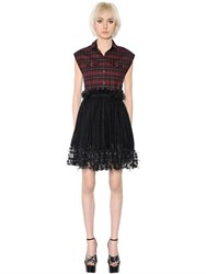 Giamba Plaid Wool And Polka Dot Tulle Dress