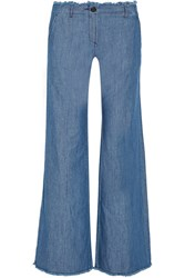 Michael Michael Kors Frayed High Rise Wide Leg Jeans Blue