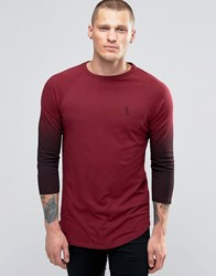 Religion 3 4 Sleeve T Shirt With Raglan Fade Detail Sleeve Blood Red Black