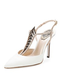 Rene Caovilla Jewel Embellished Snakeskin Point Toe Pump White