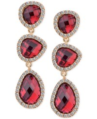 T Tahari Gold Tone Siam Stone And Crystal Drop Earrings