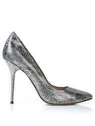 Lucy Choi London Aster Snake Print Heels Silver Bronze