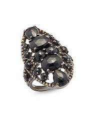 Bavna 0.79 Tcw Diamond Black Spinel And Sterling Silver Ring