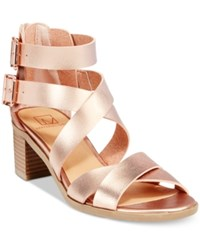 Material Girl Danee Block Heel City Sandals Only At Macy's Women's Shoes Rose Gold