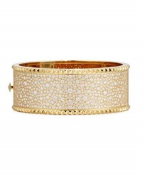 Roberto Coin Rock And Diamond Wide 18K Yellow Gold Bangle Bracelet