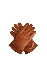 Giorgio Armani Leather And Suede Gloves Brown