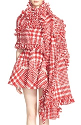 Simone Rocha Plaid Tweed Scarf Red
