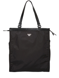 Emporio Armani Nylon Tote Bag With Leather Details Black