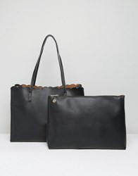 Asos Scallop Shopper Bag With Removable Clutch Black