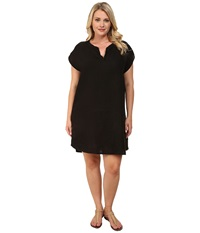 Allen Allen Plus Size Split Neck Dress Black Women's Dress
