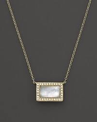 Ippolita Rock Candy 18K Gold Medium Baguette Sliding Pendant Necklace In Mother Of Pearl With Diamonds 16 Gold White