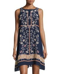 Max Studio Floral Print Sleeveless Chiffon Dress Navy Manda