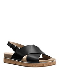 Michael Kors Hallie Leather Open Toe Slingback Sandals Black