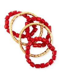 22K Gold And Coral Bead Stacking Bracelets Set Red Coral Nest Jewelry