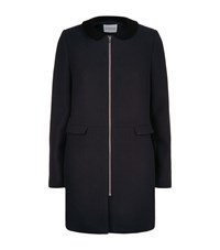 Claudie Pierlot Gilda Ter Velvet Trim Coat Female Black