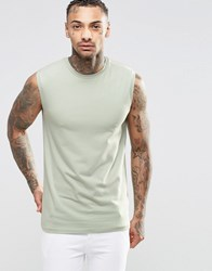 Asos Muscle Sleeveless T Shirt In Green Green