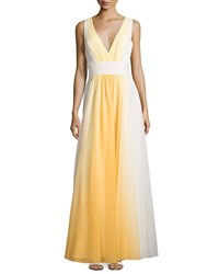 Halston Heritage Sleeveless Ombre Flowy Gown Lemon Yellow