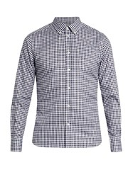 Maison Kitsune Fox Fil Coupe Checked Cotton Shirt Navy Multi