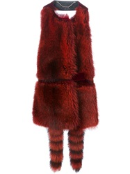 Givenchy Backless Fur Gilet Red