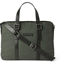Marc By Marc Jacobs Leather Trimmed Cotton Canvas Briefcase Green