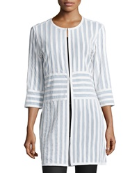 Grayse Leather Stripe 3 4 Sleeve Coat White
