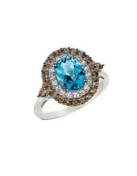 Le Vian Swiss Blue Topaz Smoky Quartz White Topaz And 14K White Gold Ring