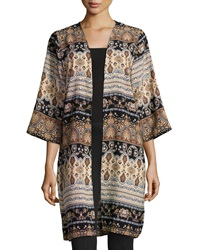 Romeo And Juliet Couture Woven Side Slit Kimono Black Beige