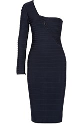 Herve Leger Sheron One Shoulder Bandage Dress Blue