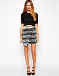 Ax Paris Houndstooth Wrap Skirt Black