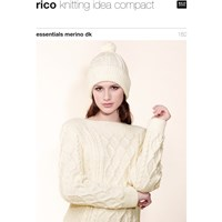 Rico Essential Merino Dk Women's Hat And Jumper Knitting Pattern 182
