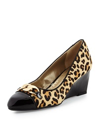 Adrienne Vittadini Mendon Calf Hair And Patent Leather Pump Leopard