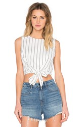 Lucy Paris Tie Front Crop Top White
