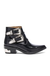Toga Pulla Polished Leather Booties In Black