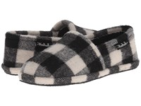 Woolrich Chatham Chill Black White Buffalo Check Wool Men's Slippers Blue