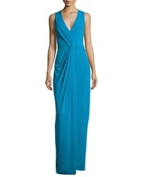 Halston Sleeveless Drape Front Evening Gown Turquoise