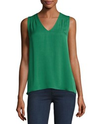 Diane Von Furstenberg Sky Silk High Low Tank Green
